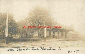 Depot, Ohio, East Palestine, RPPC, Pennsylvania Railroad Station, Wilkinson