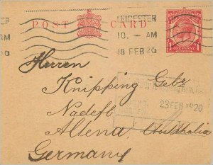 Entier Postal Stationery Postal Great Britain Great Britain 1920 Leicester to...