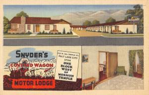 Salt Lake City Utah Snyders Covered Wagon Motor Lodge Antique Postcard K70768