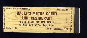 New Bern, North Carolina/NC Matchcover, Gault's Motor Cou...