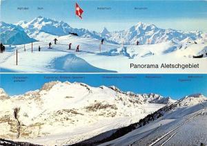 Switzerland Panorama Aletschgebiet, Skiers Alphubel Dom, Matterhorn Weisshorn