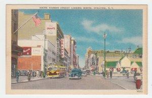 P2027 vintage postcard grants, mc,corys stores bus cars warren st. syracuse ny