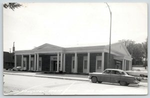 Red Oak Iowa~Houghton State Bank~Where Old Johnson Hotel Was~1950s Cars~RPPC