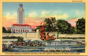 Texas Austin Littlefield Memorial Fountain Main Building & Library University...