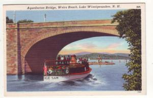 P209 JL 1958 postcard boat uncle sam aquedoctan bridge n.h.