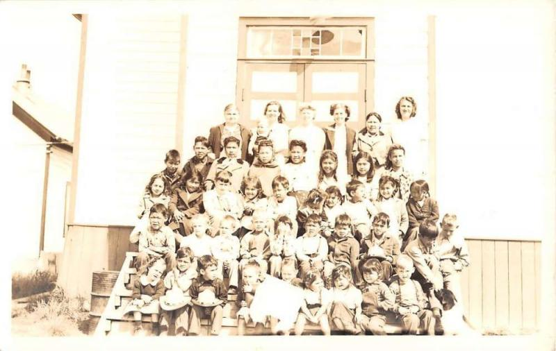 School Class Young Children With Teachers Real Photo Antique Postcard K93315