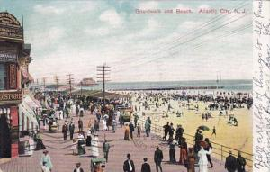 Boardwalk And Beach Atlantic City New Jersey 1906