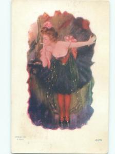 Pre-Linen Risque SEXY SHOWGIRL LIGHTING HER CIGARETTE AB7882