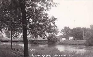 Wisconsin Arcadia River Scene With Bridge Real Photo RPPC