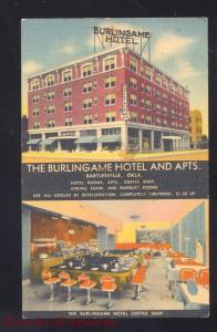 BARTLESVILLE OKLAHOMA THE BURLINGAME HOTEL RESTAURANT INTERIOR LINEN POSTCARD