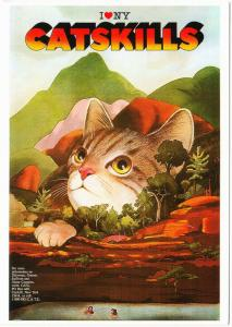 Cat in the Catskills by Milton Glaser I Love New York Art Postcard
