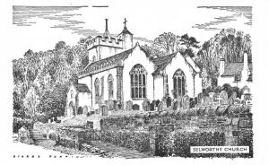 Postcard Art Sketch Drawing SELWORTHY Church SOMERSET by Sidney Perrin #5