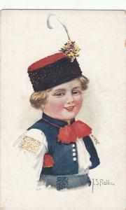 J.S. Fialka signed early postcard ethnic type boy folk costume