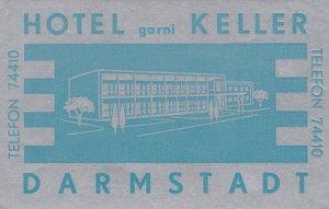 Germany Darmstadt Hotel Garni Keller Vintage Luggage Label sk3899