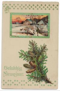 Happy New Year  Holland Vintage Postcard 01.13