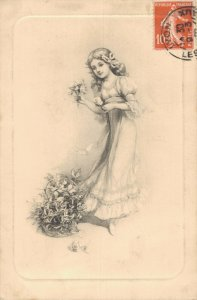 Pretty Victorian Girl With Flowers Vintage Postcard 06.73