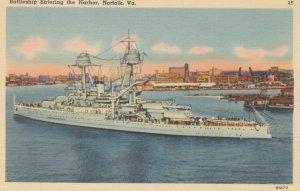 NORFOLK, Virginia, 1930-1940s ; Battleship Entering the Harbor