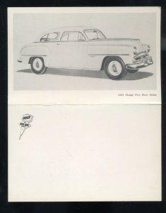 1951 DODGE TWO DOOR SEDAN VINTAGE CAR DEALER FOLDOUT ADVERTISING POSTCARD /51
