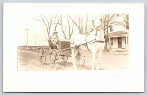 RFD Rural Free Delivery Mailman~White Horse & Buggy~Farm House~c1910 RPPC