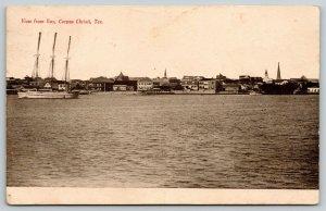 Corpus Christi TX Bay~Sailing Ship~5c Cigar Billboard~Boat Landing~Skyline~1908