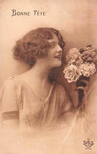 Bonne Fete! Happy Birthday! Beautiful Lady Woman, Roses Bouquet 1924
