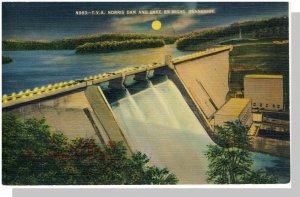 Vivid Tennessee/TN/Tenn Postcard, Norris Dam/Lake by Night