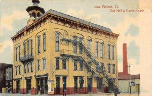 LPS29 GALION Ohio City Hall and Opera House Postcard