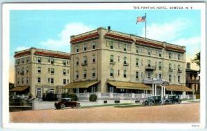 OSWEGO, New York  NY   Roadside THE PONTIAC HOTEL  1930  Postcard
