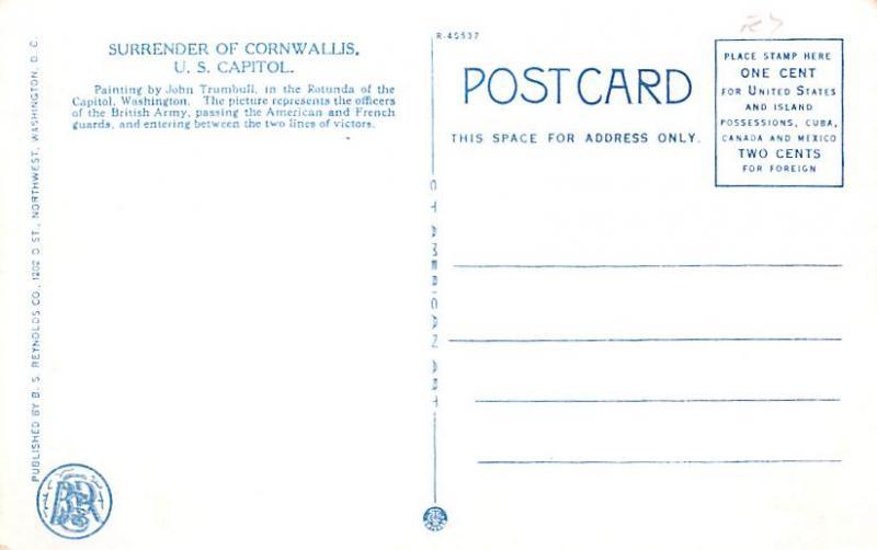 Surrender of Corwallis, US Capitol Colonial Unused