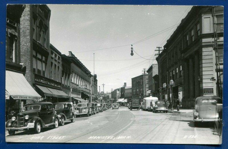 Manistee michigan mi River Street 1930s old autos cars real photo postcard RPPC