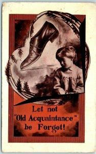 Vintage Artist-Signed EXS Postcard Let Not Auld Acquaintance Be Forgot 1911