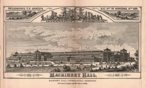 1876 Victorian Machinery Hall Philadelphia Fold-out Engraving 2T1-57