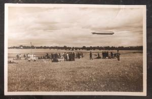 Mint RPPC Real Picture Postcard main team expecting The Graf Zeppelin
