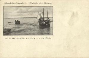 dutch new guinea, Native Papuan Fishing Boat, Papua (1899) Borgerhout Mission