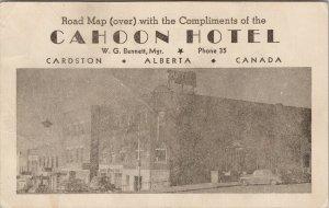 Cahoon Hotel Cardston Alberta AB Road Map Advert Advertising Card F57 *as is