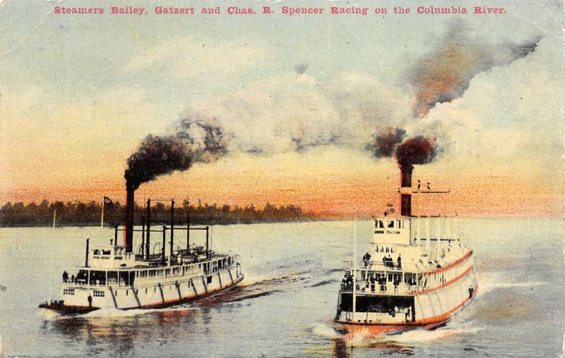 Columbia River Oregon~Steamers Bailey Gatzert & Chas B Spencer Race~1909 PC