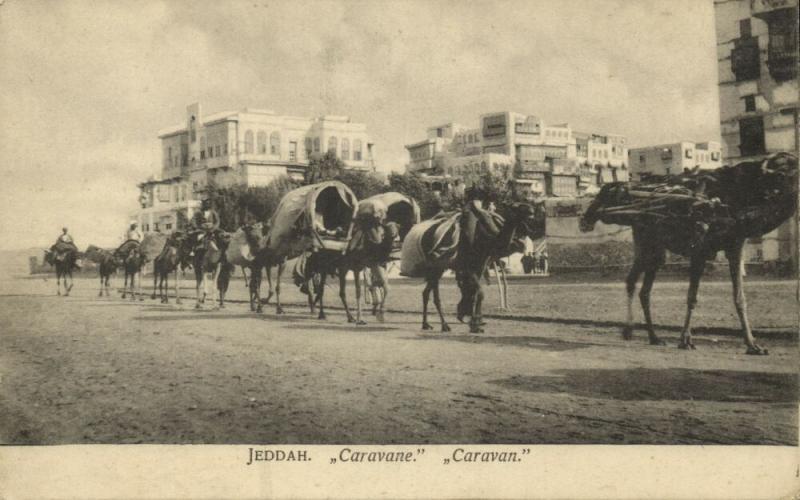 saudi arabia, DJEDDAH JEDDAH, Camel Caravan (1910s) Postcard