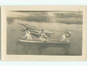 1908 rppc - WOMEN PADDLING A ROWBOAT Postmarked Shenandoah Iowa IA p2261