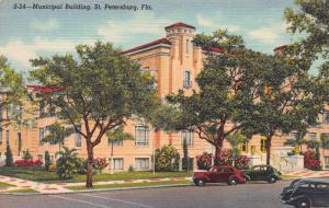 Municipal Building, St. Petersburg, Florida, Early Linen Postcard, Unused