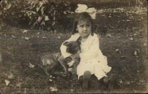Cute Little Girl Squeezing Her Pupy Dog c1910 Real Photo Postcard