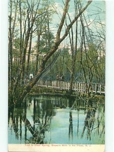 Pines NJ Browns Mills in Pines Trail Clear Spring Bridge 1908  Postcard # 5485