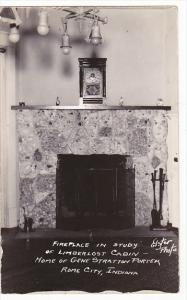 Indiana Rome City Fireplace In Study Limberlost Cabin Real Photo