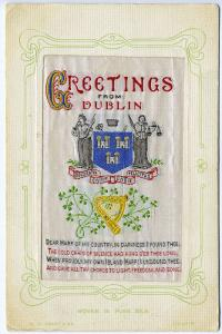 Ireland Greetings from Dublin Harp Coat of Arms Woven in Silk Postcard