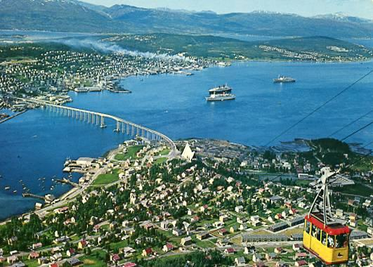 Norway - Fjellheisen, Aerial View of Town & Cable Way