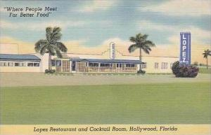 Florida Hollywood Lopez Resturant and Cocktail Room Curteich