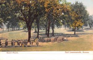 Fort Leavenworth Kansas Guard Mount Military Antique Postcard K50874