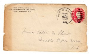 1900(?) NEW WINDSOR COLLEGE COM MARYLAND MD TO DOUBLE PIPE CREEK ENVELOPE/COVER