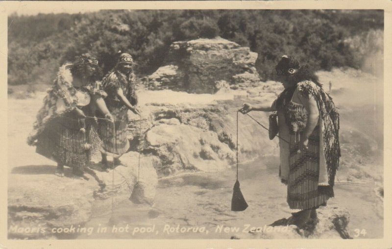 Maori Cooking in a hot Pools , New Zealand , 1937