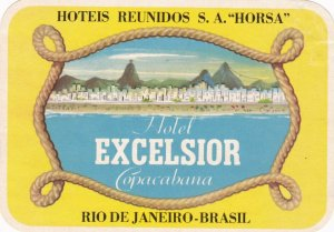 Brasil Rio de Janeiro Excelsior Hotel Copacabana Vintage Luggage Label sk1678