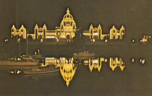 Parliament Buildings Illuminated at Night, Inner Harbour, Victoria, British C...